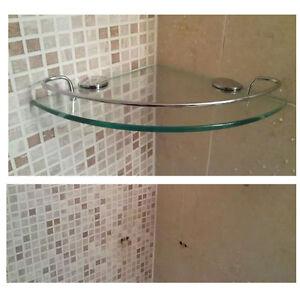 Wall mount tempered glass corner shelf bathroom shower shelf rack storage bath ebay for Corner shelves for bathroom wall mounted
