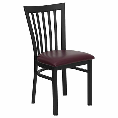 (Metal School House Back Restaurant Chair with Burgundy Vinyl Seat)