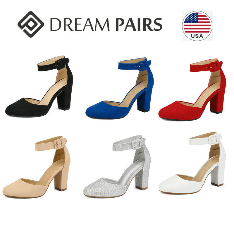 DREAM PAIRS Women's Ankle Strap Close Toe Chunky High Heel Pump Dress Shoes