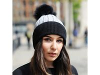 DAYMISFURRY-- Black And Grey Wool Beanie Hat With Raccoon Fur Pom Pom
