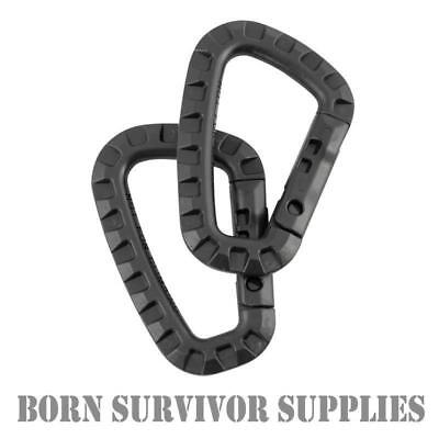 TACTICAL CARABINERS 8cm - Lightweight Plastic Clip Keyring D-Ring MOLLE Carabina