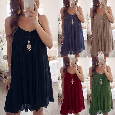 Women Mini Dress Dresses Strappy Sleeveless Plus Size 6-20 Summer Beach Pure