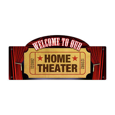"Vintage Style Retro Home Movie Theater Ticket Stub Steel Metal Sign 17"" x 7"""
