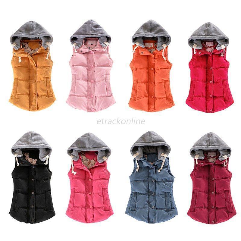 Women Winter Warm Thick Vest Hooded Jackets Waistcoat Top Slim Down Cotton Coat