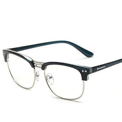 Unisex Klarsichtbrille Hälfte Umrandeten ohne Brille Stärke mit Glas Zweifa D7Q7