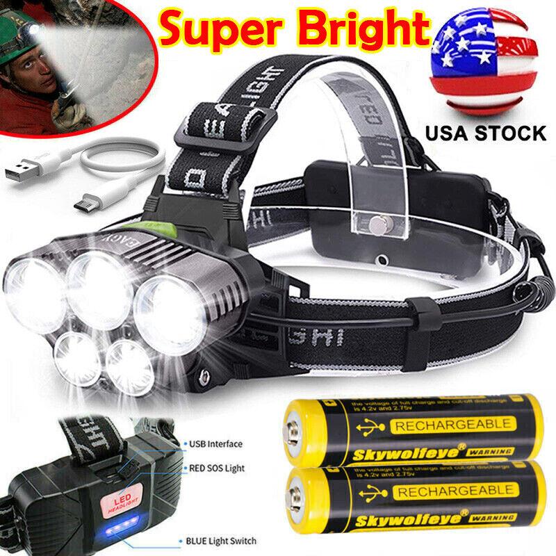 350000LM 5X Rechargeable T6 LED Head Torch Light Headlamp Flashlight Waterproof