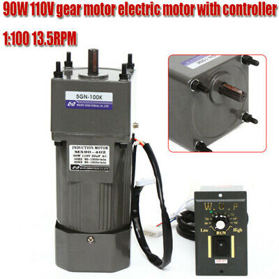 90w Ac 110v Reversible Gear Motor Electric Variable Speed Controller 13.5rpm New