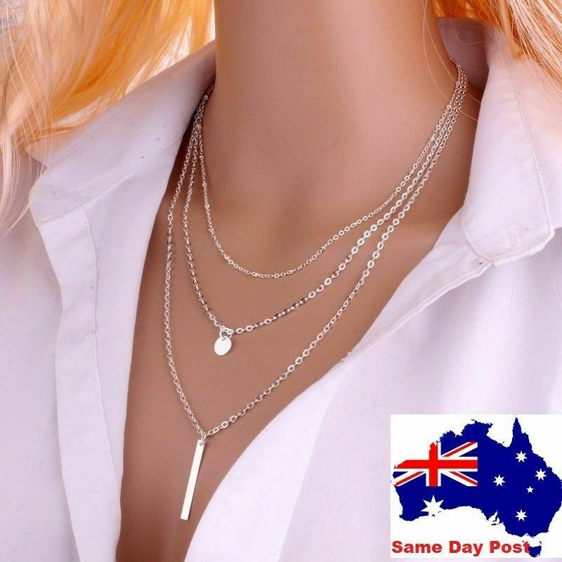 Jewellery - Womens 3 multi layer Gold or Silver Plated Necklace pendant drop Necklace Chain