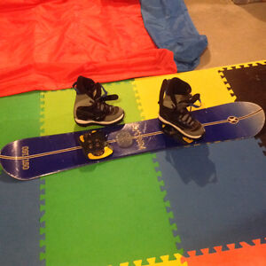 Men's snowboard (150) with step in binding and boots