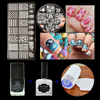 2Pcs Nail Art Stamp Plates & Stamping Polish & Latex Peel Off Liquid Tape - Wholesale Liquid Latex