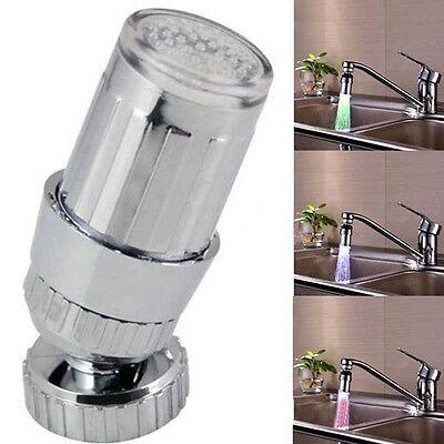 360°Water Tap Glow Shower LED Faucet Light Temperature Sensor RGB 3 Color Change
