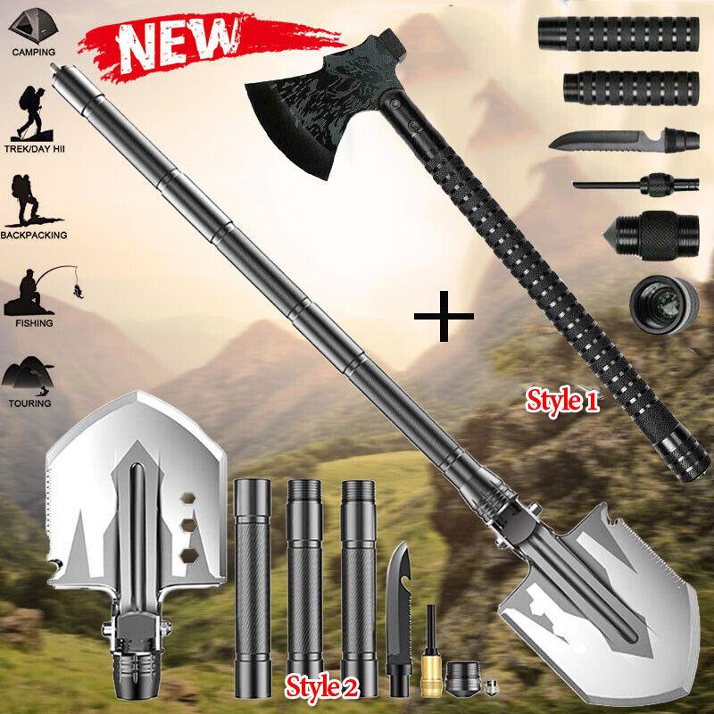 Survival Folding Shovel Axe Set Tactical Hatchet Spade Outdoor Camping Multitool