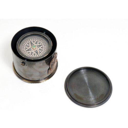 "Antiqued Brass Gimbal Compass 2.6"" Drum Case w/ Cap Nautical Desktop Decor New"