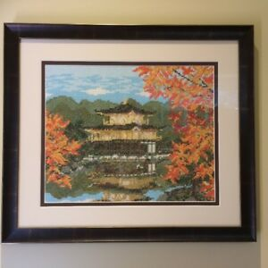 Japanese pattern cross stitch - framed with museum glass