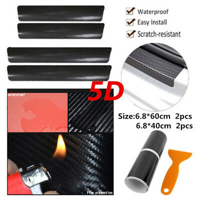 Accessories Carbon Fiber Car Scuff Plate Door Sill 5D Sticker Panel Protector 4x