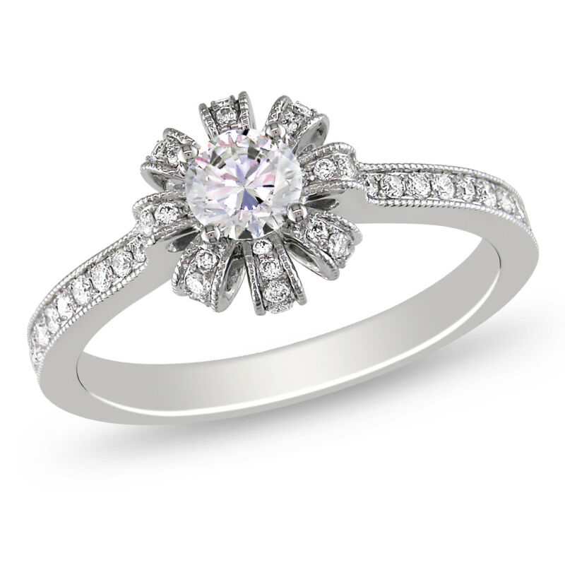 Amour 5/8 CT Diamond TW Engagement Ring in 14K White Gold