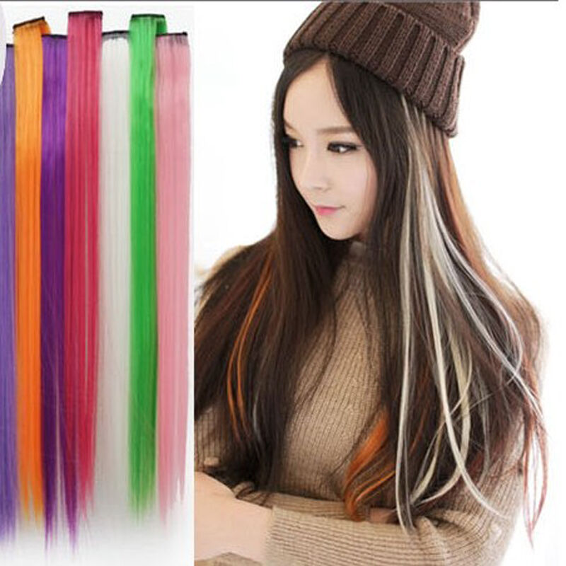 Clip on in colorful colored hair extension synthetic long hair clip on in colorful colored hair extension synthetic long hair party highlights pmusecretfo Choice Image