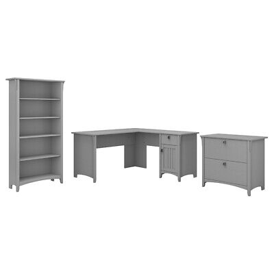 Bush Furniture Salinas 60W L Shaped Desk Office Suite in Cape Cod -