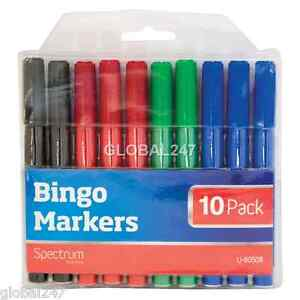 Bingo Markers x 10 Dabbers Pens Coloured Set Black Green Felt Red Blue Tickets
