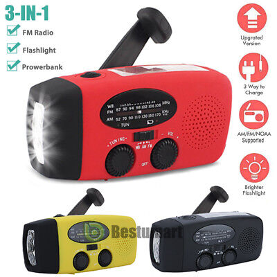 Emergency Solar Hand Crank Dynamo Am Fm Wb Noaa Weather Radio Led Torch Charge