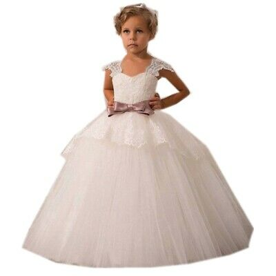 Flower Girl Clothes (Flower Girl Lace Princess Formal Party Wedding Bridesmaid Long Dress Prom)