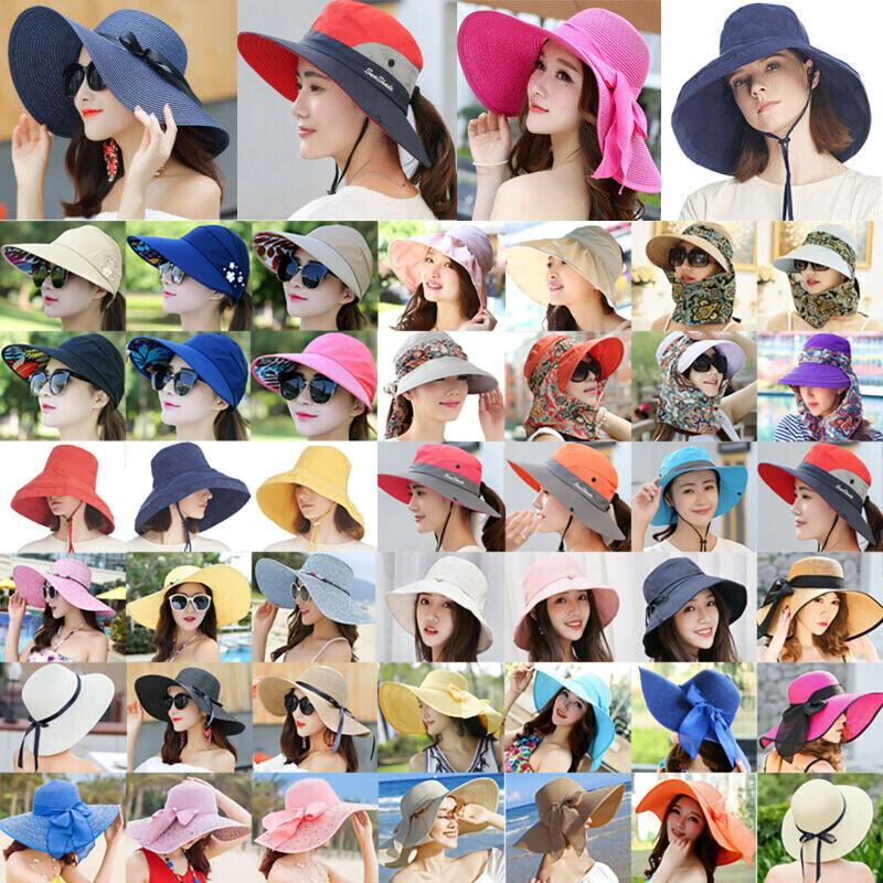 Sonnenschutz Damen Strand Strohhut Mütze Breite Krempe Hüte Dschungelhut Anti-UV