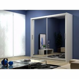all sizes available --' Berlin Wardrobe With Sliding Doors Fully Mirror -modern and classy