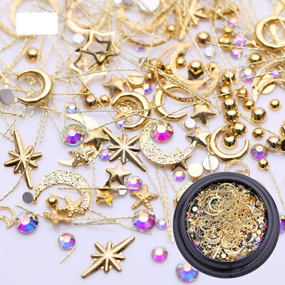 Moon Star AB Color Rhinestone Metal Alloy Nail Studs 3D Nail Art Decoration Tips, used for sale  China