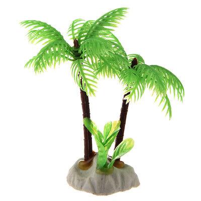 Fish Tank Emulational Mini Coconut Tree Water Plants Decor w Ceramic Base D2X5