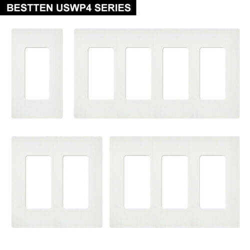 BESTTEN 10PK Screwless Wall Plate Outlet Cover  1-4 Gang USW