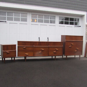 Mobilier set chambre commode mid-century teck scandinave vintage