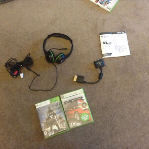 Xbox 360 corded headset and Destiny game Project Gotham Racing 3