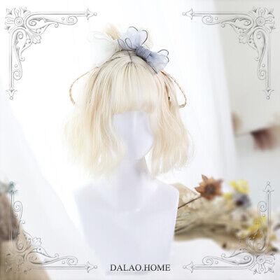 Harajuku Kawaii Lolita Wig Girl Sweet Short Curly Milk White Synthetic Hair Wigs