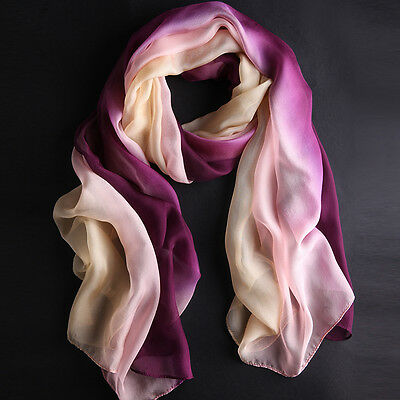 New Pretty Women's Gradient Color Wrap Chiffon Long Soft Fashion Scarf Shawl