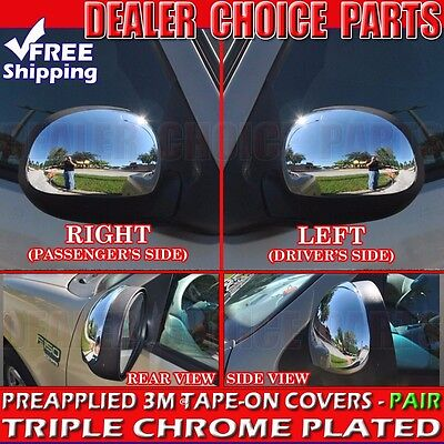 - 1997-2003 Ford F-150 Triple Chrome Mirror Covers Overlays Trim W/O Turn Signal