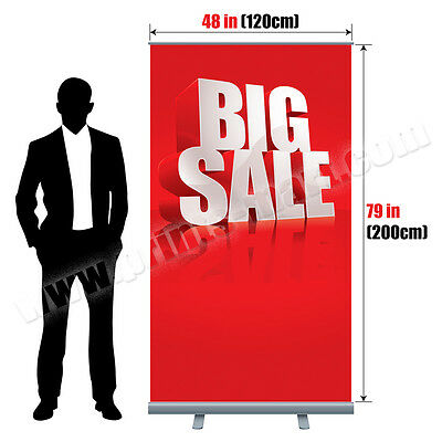 48x79 Retractable Roll Up Banner Stand Trade Show Pop Up Display Free Printing