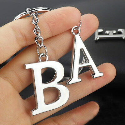 Key Chain Metal Car Key Ring Women NEW Keyring For Men 1PC Silvery Letters ABC