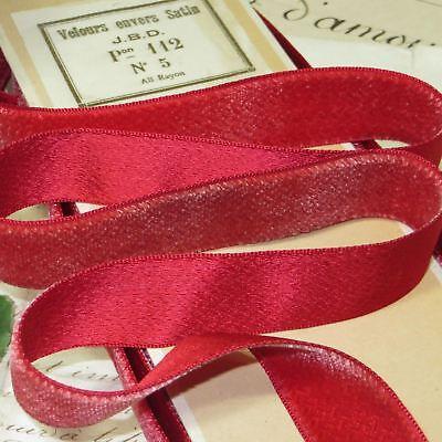 "Vintage 3//8/"" Velvet Ribbon Rayon Cherry Rose 3yds Made in France"