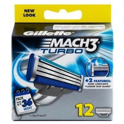 12 Gillette Mach 3 Turbo Rasierklingen Mach3 1x8 und 1x4 Klingen im Blister  Gillette Rasierklingen Mach