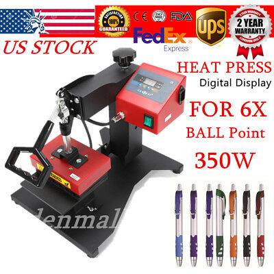6x Digital Pen Logo Heat Press Machine Sublimation For Ball-point Transfer Print