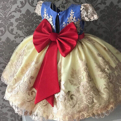 Fairy Dress For Kids (Princess Girl Dress Kids Lace Bow Birthday Party Wedding Dresses Formal)