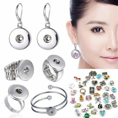 Hot Snap-it Chunk Floating Charms Button Locket Earrings Ring Bracelet Jewelry](Jewelry Snaps)