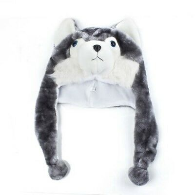 Cartoon Tier Husky Wolf Fluffy Pluesch Hut Muetze - Wolf Plüsch Hut