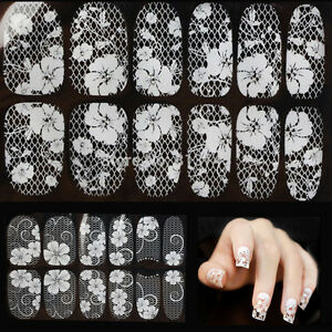 3D LACE TRANSPARENT NAIL ART RHINESTONE STICKERS, 16 DESIGNS, DIAMOND DIY FOILS