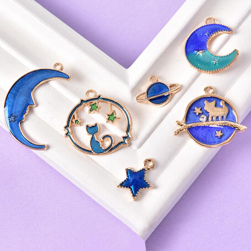 8Pcs Enamel Cat Moon Star Earth Planet Charms Pendants DIY For Jewelry Making