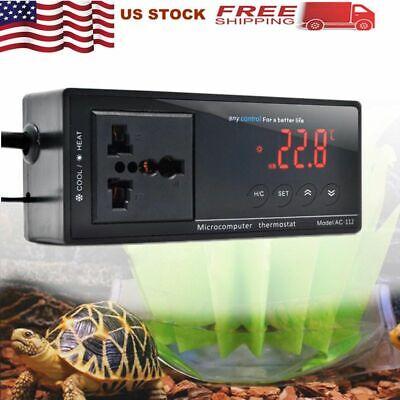 Digital LED Temperature Controller Aquarium Reptile Thermostat Waterproof -