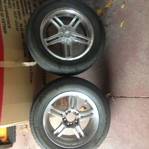 5 hole universal tires and rims. 2 only!! Aluminum