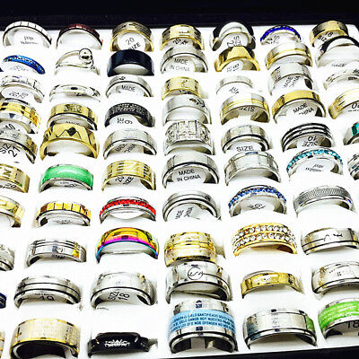 Wholesale Lots 100pcs Mix Styles Men's Women's Fashion Top Stainless Steel Rings