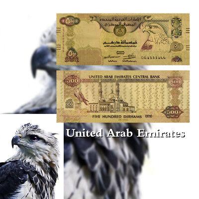 WR United Arab Emirates Colored Gold UAE 500 Dirhams Banknote Polymer Money Bill