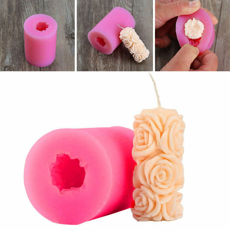 Rose Silicone Fondant Soap Candle Mould Cake Decor Sugarcraft Mold Portable